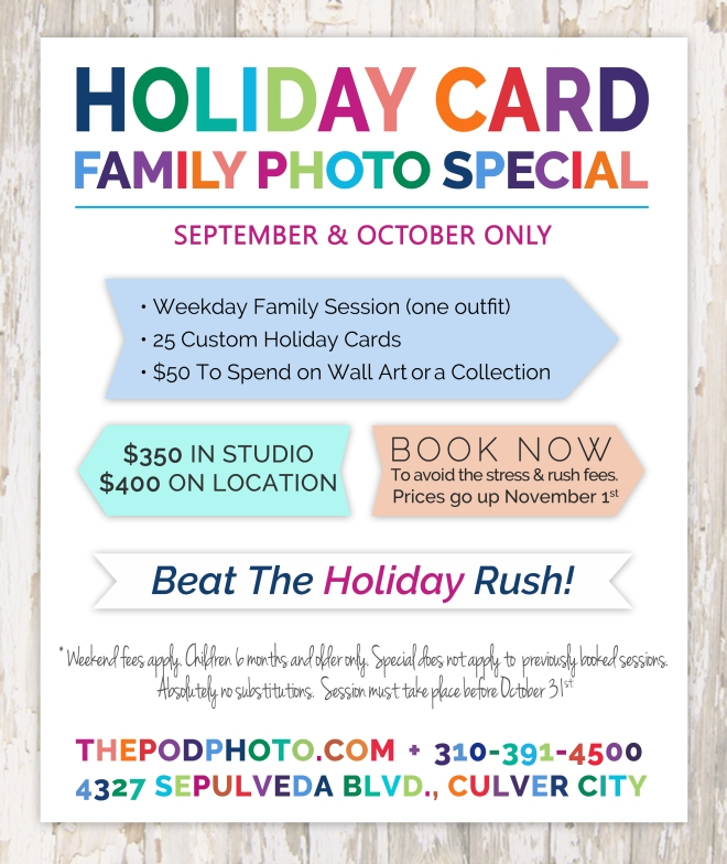 holiday card family photography promotion and special discounted price